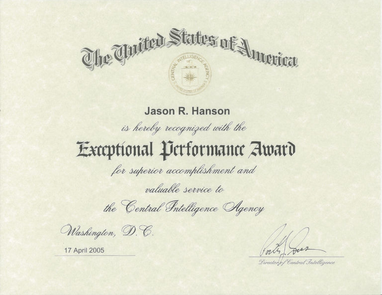 Exceptional Performance Award 2005