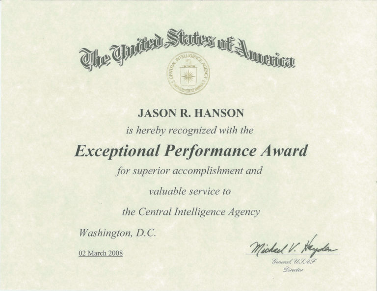 Exceptional Performance Award 2008